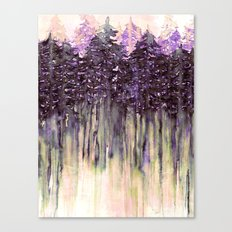 NORTHWEST VIBES Colorful Watercolor Painting Forest Trees Violet Green Modern Nature Art West Coast  Canvas Print