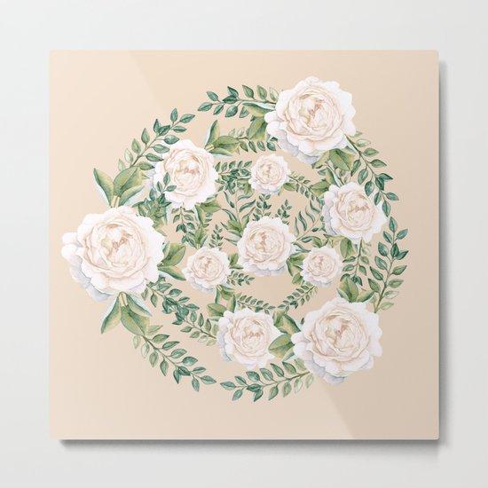 Garden Roses Mandala Pink Green Cream Metal Print