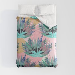 Tropical Mint Foliage Modern Pink Design Comforters