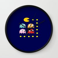 pacman Wall Clocks featuring Pacman by ARIS8