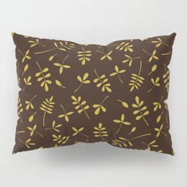 Gold Leaves Design on Brown Pillow Sham