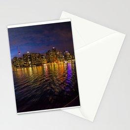 Rainbow city night Stationery Cards