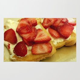 french toast with strawberries Rug