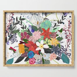 Colorful mix flower bouquet pattern white background Serving Tray