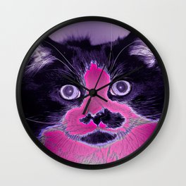 Colored Kitty Wall Clock