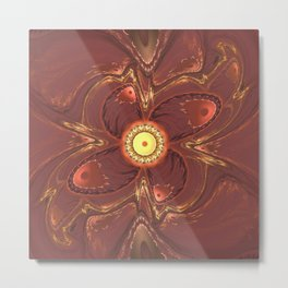 Fractal Red Yellow Flower Metal Print