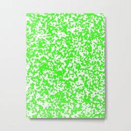 Small Spots - White and Neon Green Metal Print