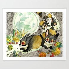 Moonlight (With Jackalopes) Art Print