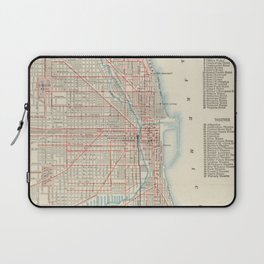 Vintage Chicago Railroad Map (1893) Laptop Sleeve