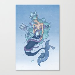 Wanda The Warrior Mermaid Canvas Print