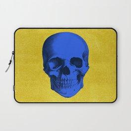 Blue skull on gold Laptop Sleeve