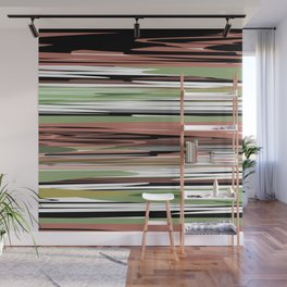Abstract stripes in brown olive Wall Mural