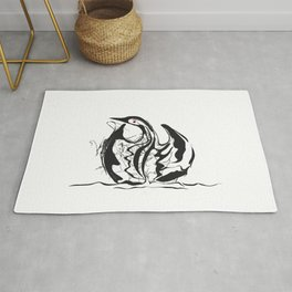 Swan-1. Black on white background-(Red eyes series) Rug