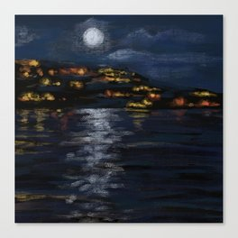 San Clemente Beach at Night from the Pier Canvas Print