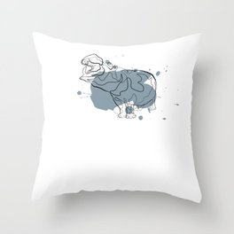 Hippo - One Line Drawing Throw Pillow
