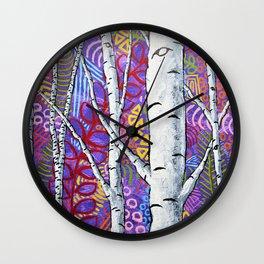 Sunset Sherbert Birch Forest by Mike Kraus-art birch aspen trees forests woods nature interior decor Wall Clock