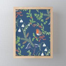 Christmas Chintz with Robin - dark blue Traditional chintz by Cecca Designs Framed Mini Art Print