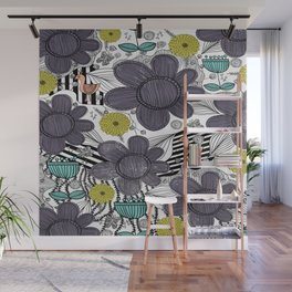 Whimsical BoHo Floral Pattern Wall Mural
