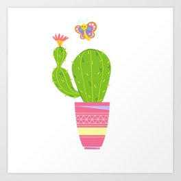 Cactus With Butterfly Art Print