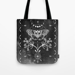 Magical Moth Black Tote Bag