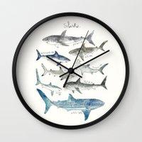 sharks Wall Clocks featuring Sharks by Amy Hamilton