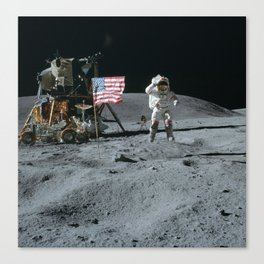 Apollo 16 - Astronaut Moon Jump Canvas Print