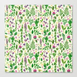 Green florals Canvas Print