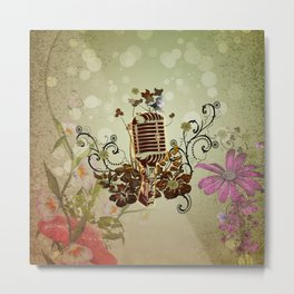 Music, microphone with flowers and cute ittle bird Metal Print