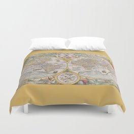 Old Map of the World from 1594 Duvet Cover