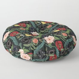 Botanical and Black Pugs Floor Pillow