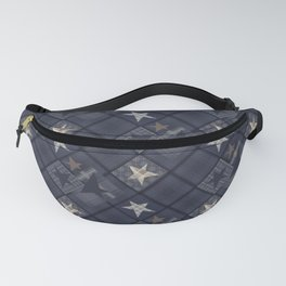 Gray blue patchwork Fanny Pack