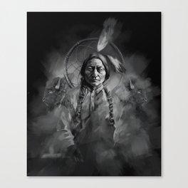 Black and white portrait-Sitting bull Canvas Print