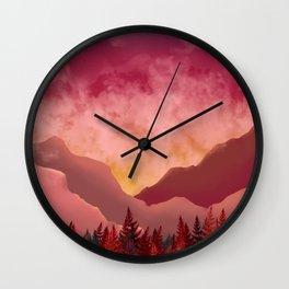 sunset ferns Wall Clock