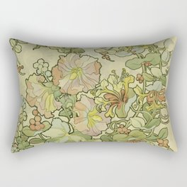 "Alphonse Mucha ""Printed textile design with hollyhocks in foreground"" Rectangular Pillow"