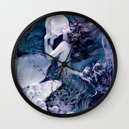 Henry Clive: Mermaid with Pearl Teal Violet Wall Clock