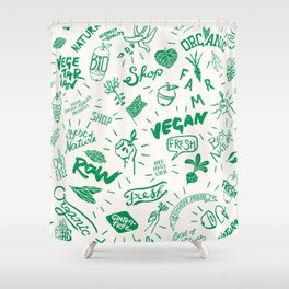 Organic Food Hand Lettering Print Shower Curtain