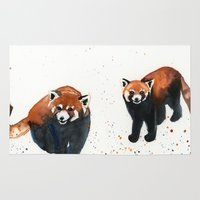 pandas Area & Throw Rugs featuring Red Pandas by Priscilla George