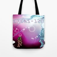aliens Tote Bags featuring aliens by amanvel