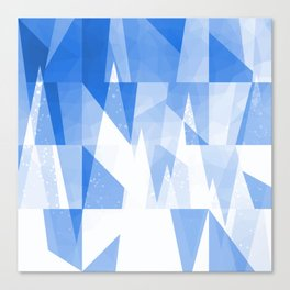 Abstract Blue Geometric Mountains Design Canvas Print