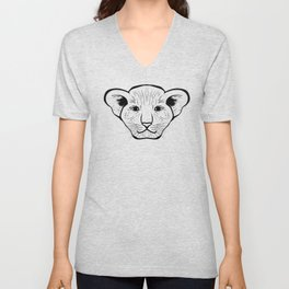 Black silhouette of a lion cub face. Lovely lion for pam, moms and toddlers, accessories. Unisex V-Neck