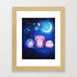 Night Owls & Fairy Lanterns Framed Art Print
