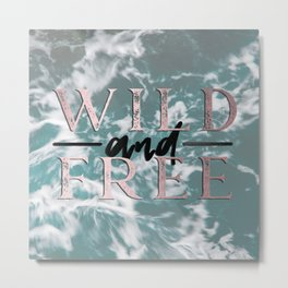 Wild and Free Waves in Rose Gold Metal Print