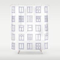 sketch Shower Curtains featuring windows sketch by Anna Grunduls