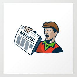 Newsboy Newspaper Delivery Retro Art Print