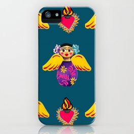 Angels and Corazones (flaming hearts) iPhone Case