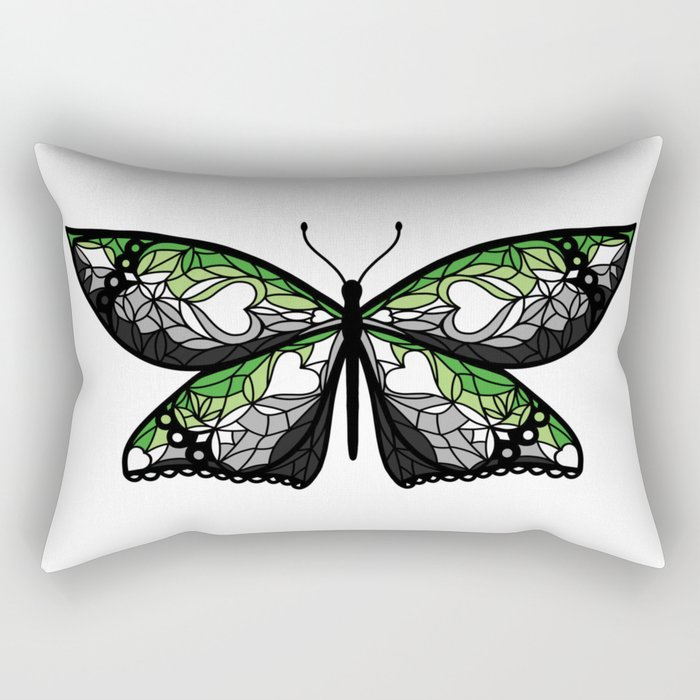 Fly With Pride: Aromantic Flag Butterfly Rectangular Pillow