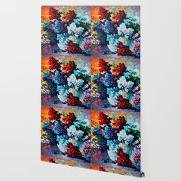 Custom Abstract Flowers Painting Wallpaper