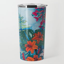 Blue Jungle of Orange Lily and Pink Trumpet Vine Floral Travel Mug