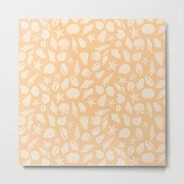 Seashells Coral Orange Metal Print
