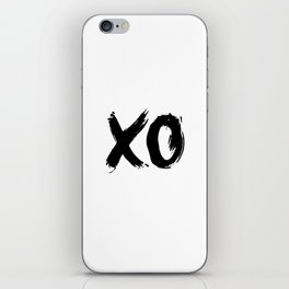 XO Hugs and Kisses black and white xoxo gift for her girlfriend bedroom art and home room wall decor iPhone Skin